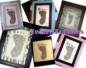 5 x 7 - Teeny Tootsies by pinkbabyandpancho - Custom Baby Announcement Keepsake