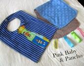 Monkey Business - Reversible Bib and Burp Cloth Baby Shower Gift Set Set - Neck Tie Bib