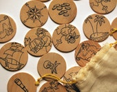 wooden disc memory matching game - pirate monkeys