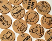 wooden disc memory matching game - robot mania
