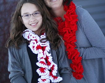 Ruffled Crochet Scarf PDF pattern for Candy Cane (Red) Ruffles Scarf corkscrew red or red and white for candy cane look
