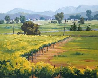Beyond Vineyard's Edge - 22 x 28 Inch Original Oil Painting of a Vineyard in Wine Country - Fireplace Art - Living Room Art