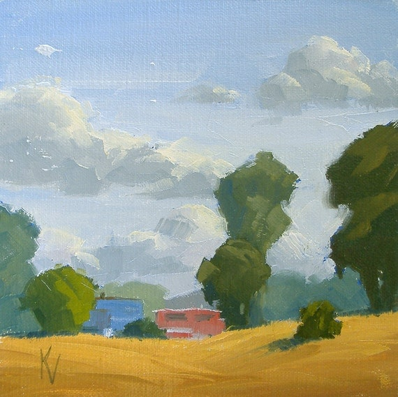 Original Oil Painting of a Farm and Clouds - Titled - Wednesdays Clouds - Sized 6 x 6