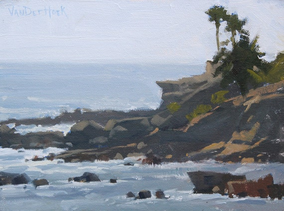 Afternoon Bluffs - Original Oil Painting of the Beach - Laguna Beach Oil Painting- Beach Painting - Ocean Art - Seascape