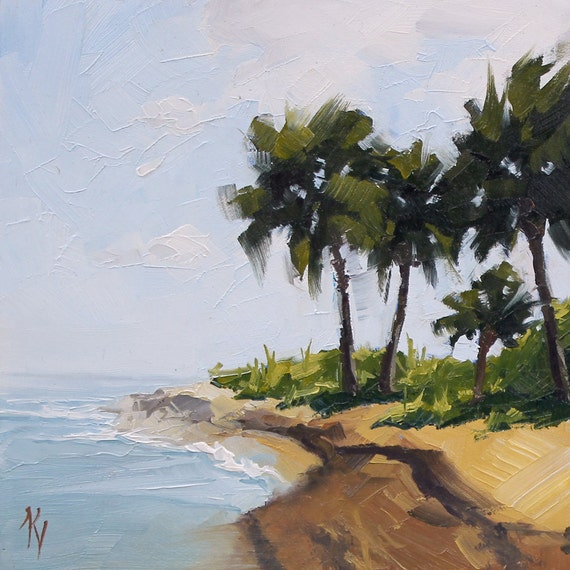 Original Oil Painting of the Beach - Titled - Hammock Not Included - A Study - Sized 6 x 6