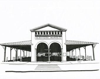 Eastern Market Sheds, Detroit Giclee Print 8x10