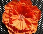 Orange Glitter Peony Flower Hair Clip with Beaded Center