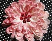White Mum with Red Splattered Paint Flower Hair Clip