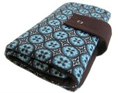 circular knitting needle organizer - chocolate and blue mosaic