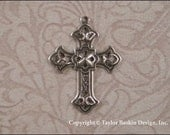 Antiqued Sterling Silver Plated Victorian Filigree Cross (item 502 AS) - 6 Pieces
