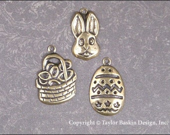 Easter Charms Mixed Lot - 18 Pieces - Rabbits, Easter Baskets and Easter Eggs in Antiqued Polished Brass