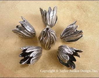Antique Sterling Silver Plated Flower Beadcap (1932 AS) - 12 pieces