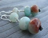 Sky Robin Egg Blue Amazonite Silver Dangle Earrings