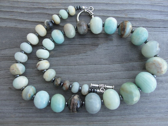 Graduated Faceted Amazonite Chunky Necklace REDUCED