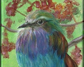 Lilac Breasted Roller, Art Print of Acrylic Bird Painting