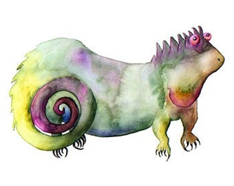 Clyde Lizard Watercolor Print