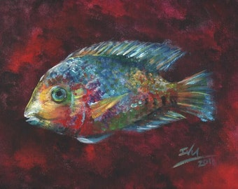 Rainbow Fish (Cichlid), Art Print of Acrylic Painting