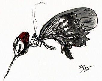 Butterfly and Rose Art Print, Ink and Watercolor