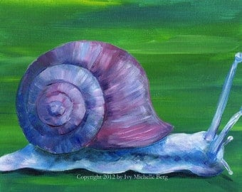 Violet Snail, Art Print of Acrylic Painting