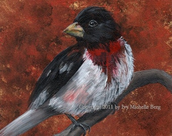 Rose Breasted Grosbeak, Art Print of Acrylic Bird Painting