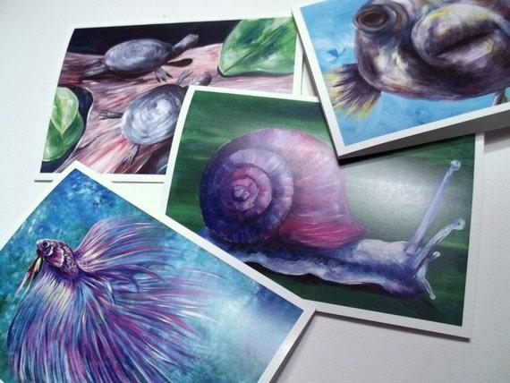 Greeting Cards, Set of 4 Acrylic Animal Paintings