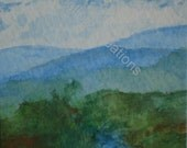 Mountain Lake - Watercolor ACEO
