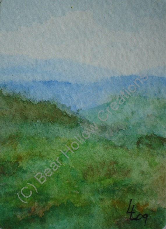 Blue Ridge Mountains - Water Color ACEO