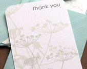Set of 8 thank you cards with aqua envelopes