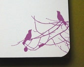Set of 10 personalized flat notes- Birds on Branches Motif in Fuchsia with Navy Text