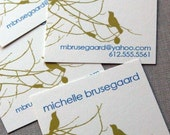 Birds and Branches Calling Cards in Lime and Royal Blue-set of 100