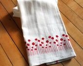 Set of Two Screen-printed Dish Towels with Red Poppies