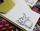 Bunny Enclosure Cards-Set of Five-Chartreuse Envelopes