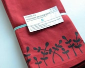 Set of 4 screen-printed napkins-Red with Black Leaf Motif