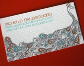 Peacock Calling Cards-Rust and Teal