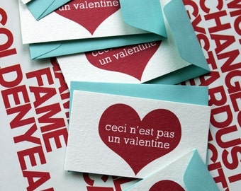 this is not a valentine-set of five enclosure cards