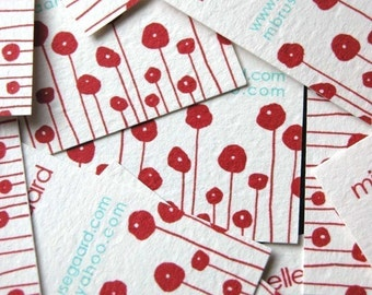 Red Poppies Calling Cards-set of 50