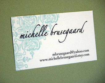 Aqua Brocade Calling Cards-featured in real simple magazine