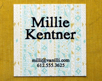 Square Calling Cards-Rude Boy print in Yellow Ochre and Aqua