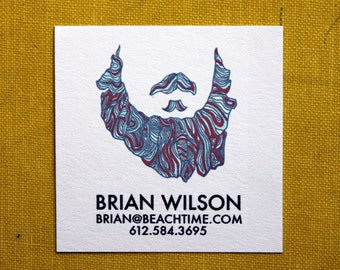 Beard Calling Cards- 2 inch square-set of 50
