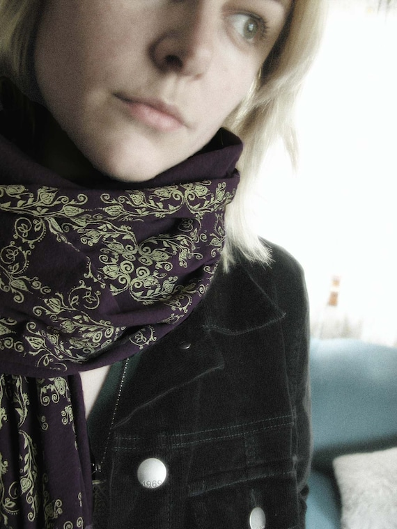 Screen Printed Jersey Scarf in Eggplant with Cream Wallpaper Motif
