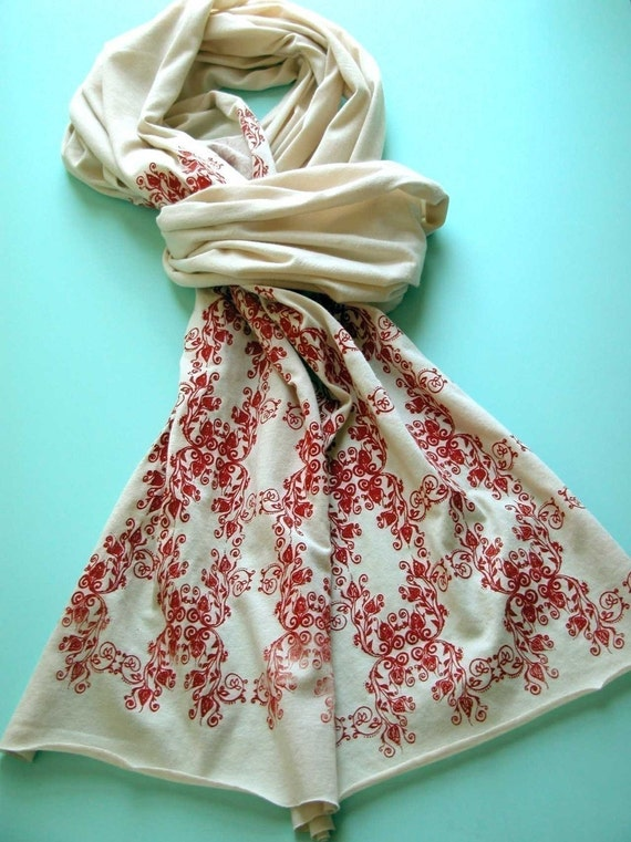 Screen Printed Jersey Scarf in Cream with Red Wallpaper Motif
