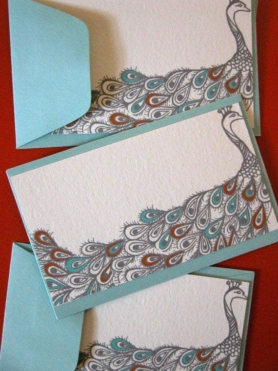 Rust and Teal Peacock Enclosure Cards-Set of Five-Pool Envelopes