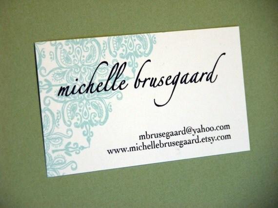 Aqua Brocade Calling Cards-featured in real simple magazine