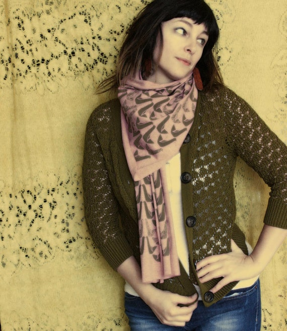 Screen printed Jersey Scarf-Heather Pink with Olive Partridges
