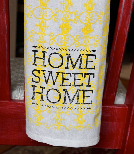 Set of 2-Screen-Printed Dishtowels - Home Sweet Home in yellow and black
