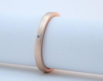 Rose Gold Diamond Ring - 18 Karat Rose Gold Engagement Ring - Modern Wedding Ring - Matte Finish - Simple Solid Gold Ring - Minimalist Ring