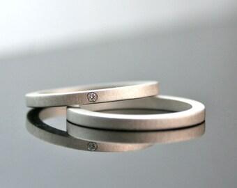 One Tiny Diamond Ring Set - Simple Wedding Rings - Sterling Silver Engagement Ring Set - Matte Finish - Simple Diamond Ring - Modern - 2 mm