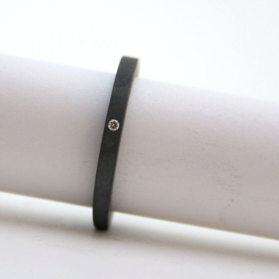 Tiny Diamond Ring Blackened Sterling Silver - Alternative Engagement Ring - Promise Ring - Simple Wedding Band