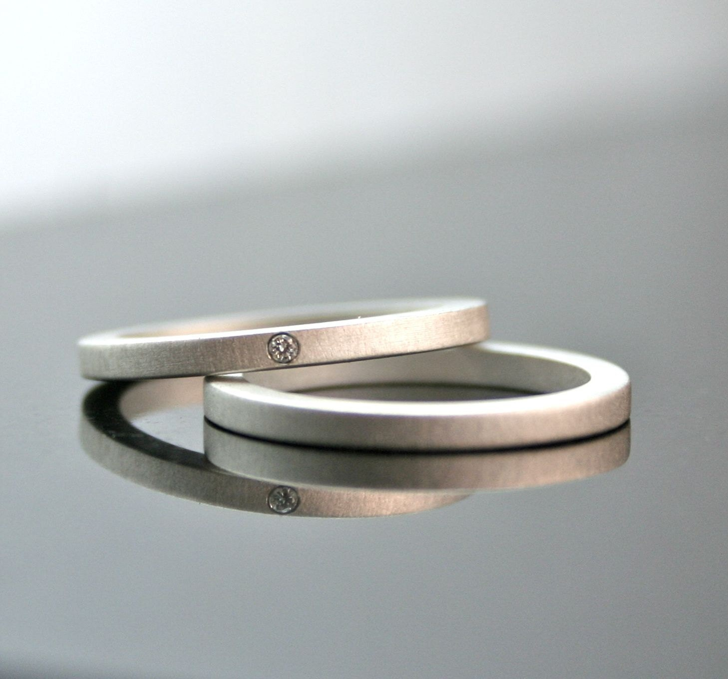 e Tiny Diamond Ring Set Simple Wedding Rings by CocoandChia
