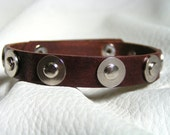 Brown leather and washers cuff
